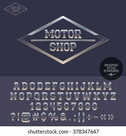 Silver logotype for motor shop. Vector set of letters, numbers and symbols.
