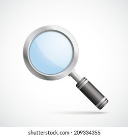 Silver loupe on the white background. Eps 10 vector file.