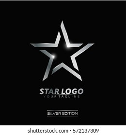 Silver Luxury Star Logo Vector for Rising Star, Leader Club, Fashion, Event and Technology Company logo