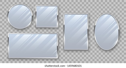 Silver makeup mirrors mockup vector set. Round and rectangular looking glass isolated on transparent background. Glass store, interior decoration. Luxury decor items realistic illustration