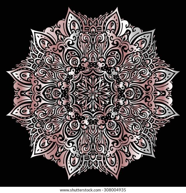 Silver mandala on black background. Ethnic vintage pattern.