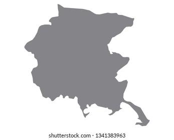 Silver Map of the Italian Region of Friuli Venezia Giulia