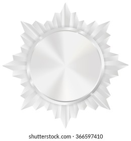 Silver medal. Shiny Order star. Empty award sign. Vector illustration isolated on white background