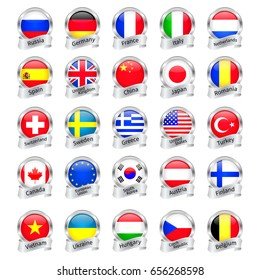 Silver medals flags