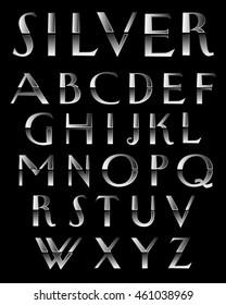 Silver Metal alphabetic fonts.