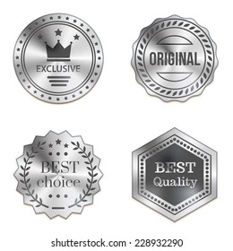 Silver metal badges isolated on white background. Best quality, best choice, original, exclusive