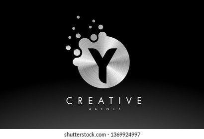 Silver Metal Dots Letter Y Logo. Y Letter Design Vector with Dots.