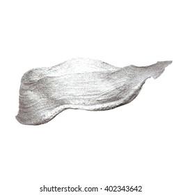 Silver Metal Foil Glitter Brush Stroke. Stroke Vector Design Illustration. Foil Shiny template. Pearl Gloss Design. Watercolor Paint Texture