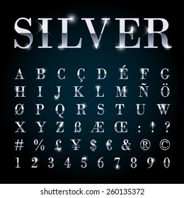 Silver metal font with letters, numbers, currency symbols.