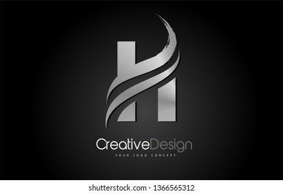 Silver Metal H Letter Design Brush Paint Stroke. Letter Logo on Black Background