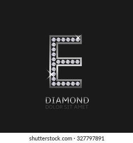 Silver metal letter E logo with diamonds. Luxury, royal, wealth, glamour symbol. Vector illustration
