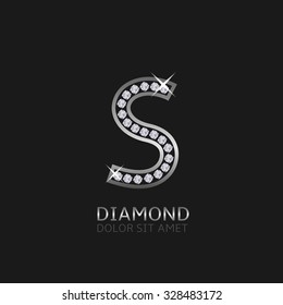 Silver Metal Letter S Logo With Diamonds Luxury Royal Wealth Glamour Symbol