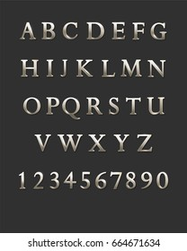 Silver metal letters and numbers. Vector alphabet