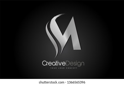 Silver Metal M Letter Design Brush Paint Stroke. Letter Logo on Black Background