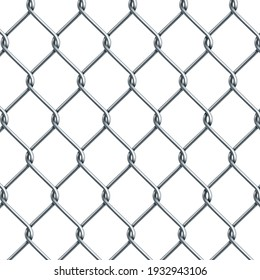 Silver metal mesh chain-link on a white background - Vector illustration