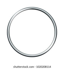 Silver metal ring isolated on white background. Vector empty frame