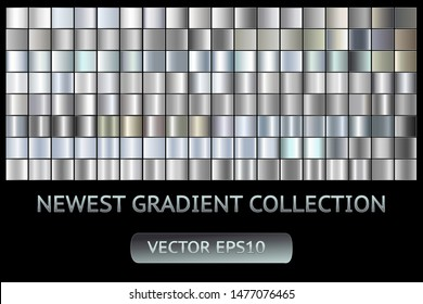 Silver metal scratched chrome foil texture vector icon background set for banner, ribbon, label. Grunge gray shiny gradient design collection. Elegant light effect seamless pattern template