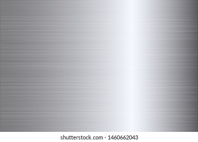 Silver metal scratched chrome texture vector icon background. Shine gray brushed vector metallic gradient. Silver background texture for banner, ribbon, label. Grunge silver vintage