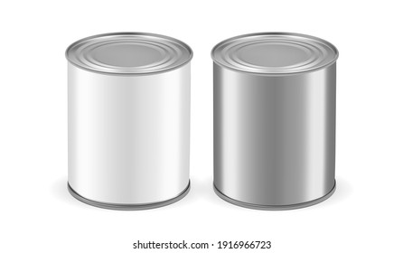 silver metal tin cans isolated on white background mock up vector