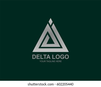 Silver metallic delta sign logo. Vector illustration
