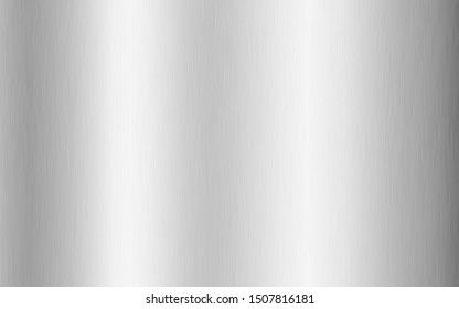 Silver metallic gradient with scratches. Titan, steel, chrome, nickel foil surface texture effect. Vector illustration.