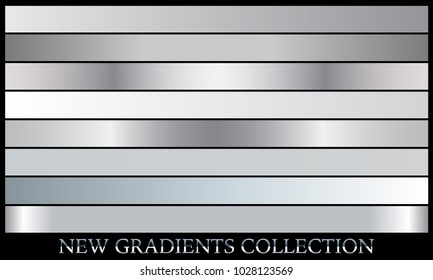 Silver metallic gradient set background vector icon texture gray illustration for frame, ribbon, banner, coin and label. Realistic abstract metal design seamless pattern. Elegant aluminum template