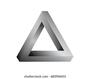 Silver metallic impossible triangle figure. Vector illustration, logotype with two impossible triangles.