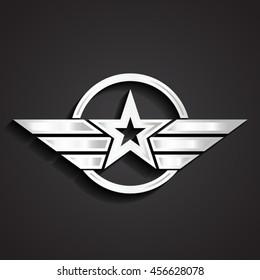 silver military star symbol / vector illustration