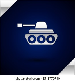 Silver Military tank icon isolated on dark blue background. Vector Illustration