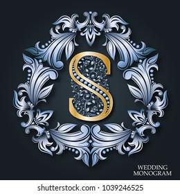 Silver monogram. The golden letter S. Heraldic foliage pattern. Vintage art frame. Elegant emblem logo for restaurants, hotels, business cards, wedding invitations, booklets and brochures.