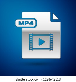 Silver MP4 file document. Download mp4 button icon isolated on blue background. MP4 file symbol.  Vector Illustration