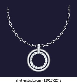 Silver necklace icon. Realistic illustration of silver necklace vector icon for web design