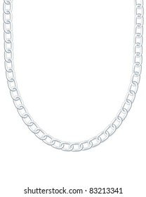 Silver necklace on white background. Vector illustration.