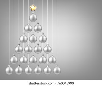 Silver New Year background with Christmas balls. Vector illustration.