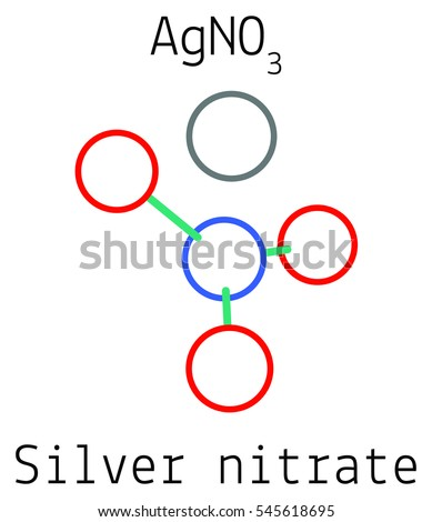 Silver Nitrate Ag No 3 Molecule Isolated On Stock Vector Royalty