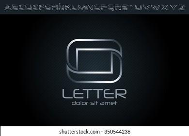 Silver O Letter Logo, alphabet logo design.