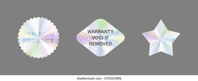Silver Official Seal. Hologram Label Set Isolated On White. Geometric Holographic Label For Award Design, Product Guarantee, Sticker Design