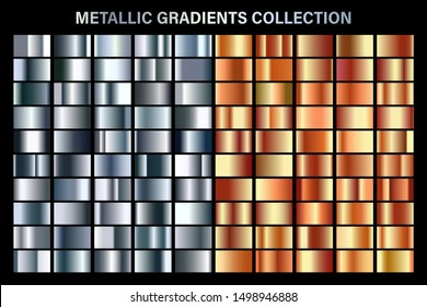 Silver and orange bronze glossy gradient, metal foil texture. Color swatch set. Collection of high quality vector gradients. Shiny metallic background. Design element.