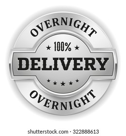 Silver overnight delivery badge on white background