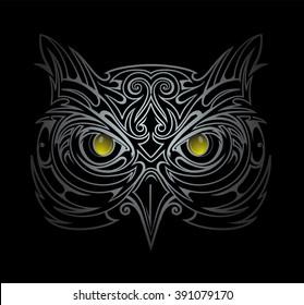 Silver owl head tattoo shape in the dark
