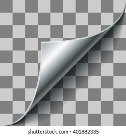 Silver page corner curl on checkered background. EPS 10 page curl template with transparency.