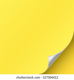 Silver page curl corner on blank sheet of paper. Turn paper sticker with flip edge isolated on yellow background. Vector web banner or post note template for your design.