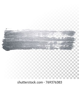 Silver paint brush stain or smudge stroke and abstract paintbrush glittering ink dab smear with glitter texture on transparent background. Isolated sparkling silver paint ink paintbrush splash stain