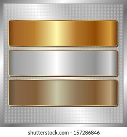 silver panel with three metallic banners