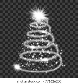 Silver particle wave in form of christmas tree with bright shining and glowing particles isolated on transparent background. Glitter bright trail, glowing wave vector illustration