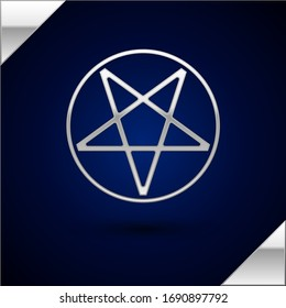 Silver Pentagram in a circle icon isolated on dark blue background. Magic occult star symbol.  Vector Illustration