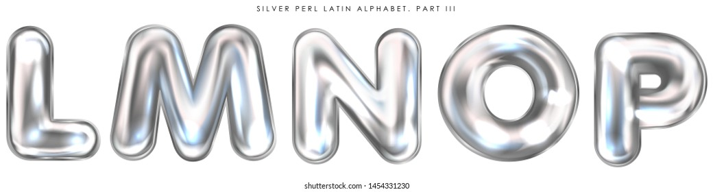 Silver perl foil inflated alphabet symbols, isolated letters L-M-N-O-P
