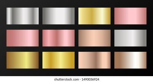 Silver, platinum, bronze, pink gold vector metallic gradients. Badges set. Shiny chrome, alloy, aluminum, titanium, copper, silver, rose gold, platinum, steel, bronze background swatches.