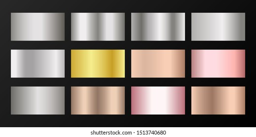 Silver, platinum, bronze, pink gold vector metallic gradients. Badges set. Graphic elements of gold, bronze and silver gradients for award medals or coins design.