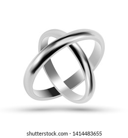 Silver Or Platinum Jewelry Wedding Rings Vector. Closeup Traditional Rings For Loving Couple. Marriage Symbol And Luxury Accessory For Future Husband And Wife Groom And Bride Realistic 3d Illustration